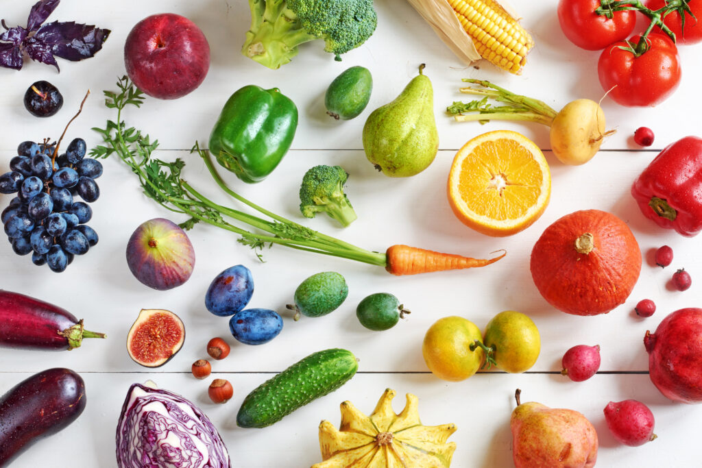 A colorful assortment of fruit and vegetable options available on a Whole-Food Plant-Based diet.